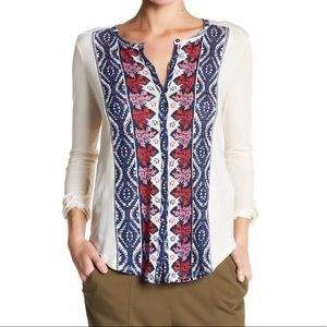 Lucky Brand Button Down Placed Print Top